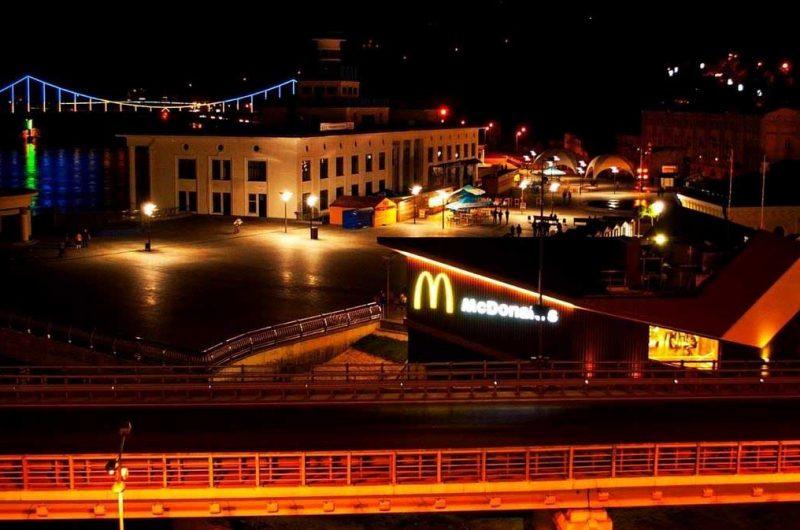 Ночная Почтовая площадь в Киеве