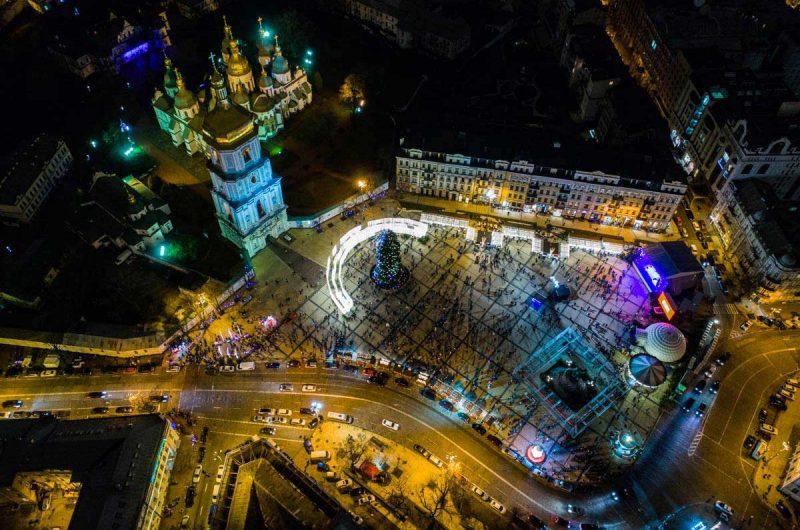 Празднование Нового года на Софийской площади