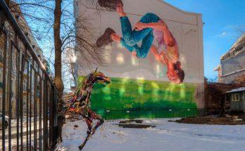 """Мурал """"Гимнастка"""", изображающий Анну Ризатдинову."""
