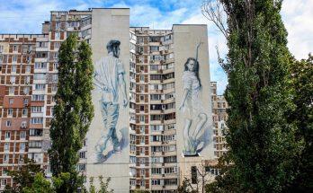 Двойной мурал на проспекте Героев Сталинграда, 60 в Киеве